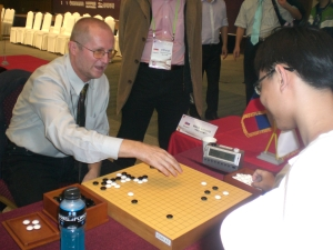 Jia Cheng reviewing with Mathoh Leopold, Slovenia
